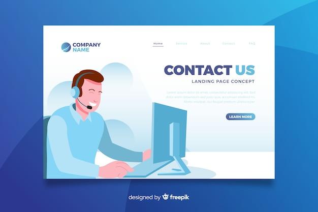 Página de destino do conceito entre em contato Vetor grátis