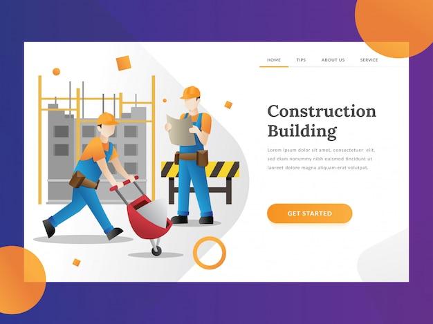 Página de destino do construtor de construção Vetor Premium