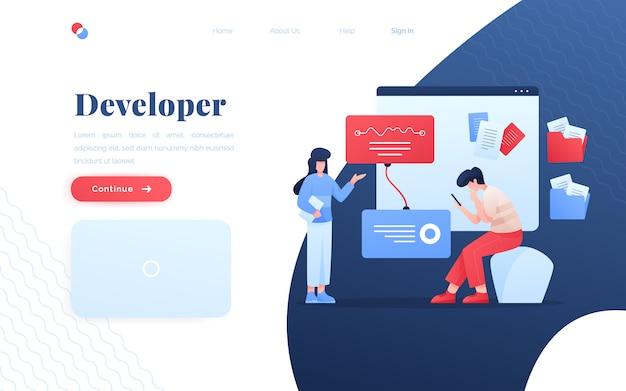 Página de destino do desenvolvedor de aplicativos modernos Vetor Premium