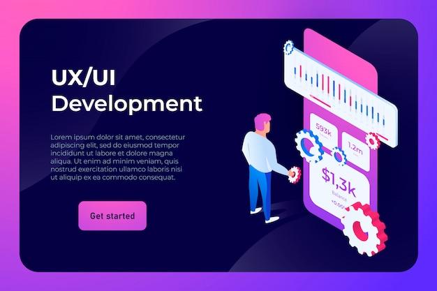 Página de destino do desenvolvimento da interface do usuário ux Vetor Premium