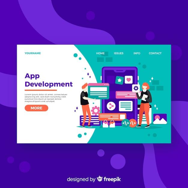 Página de destino do desenvolvimento de aplicativos Vetor grátis