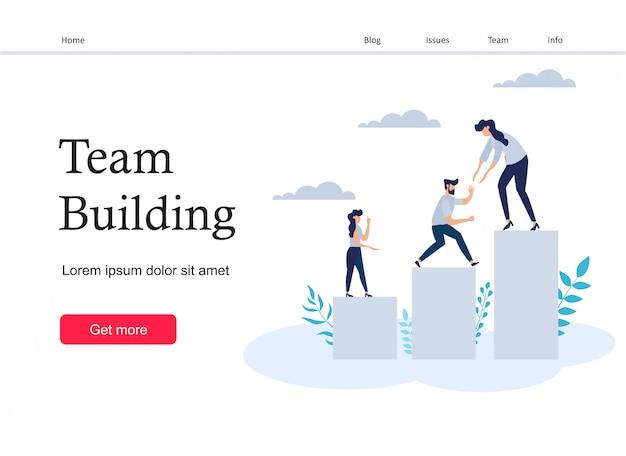 Página de destino do desenvolvimento de equipe Vetor Premium
