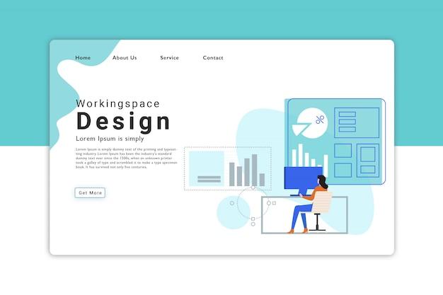 Página de destino do design do espaço de trabalho Vetor Premium