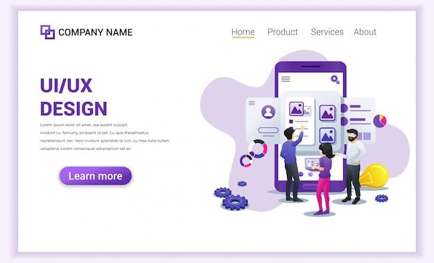 Página de destino do design dos programadores da interface do usuário ux. Vetor Premium