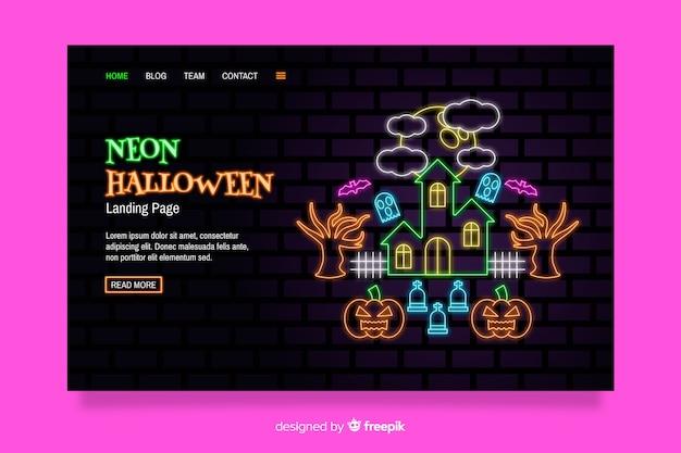 Página de destino do dia das bruxas de néon Vetor grátis
