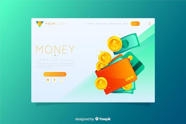 Página de destino do dinheiro Vetor grátis