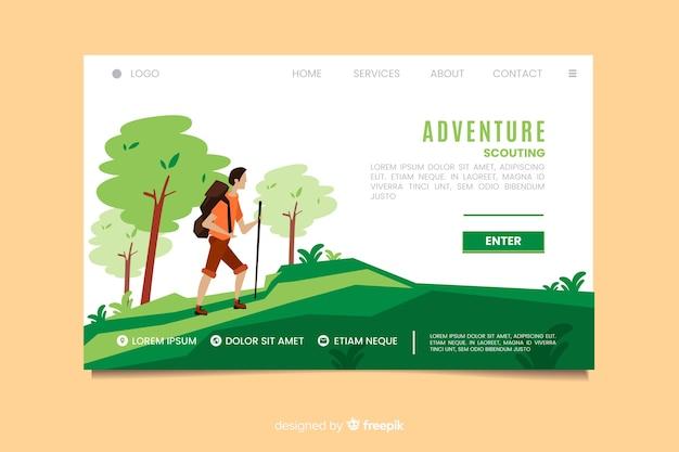 Página de destino do escotismo de aventura Vetor grátis