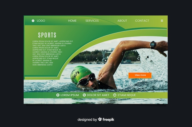 Página de destino do esporte com nadador Vetor grátis
