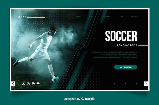 Página de destino do esporte de futebol Vetor Premium