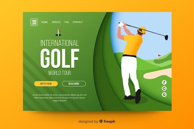 Página de destino do esporte de golfe Vetor grátis
