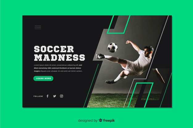 Página de destino do esporte loucura de futebol Vetor grátis