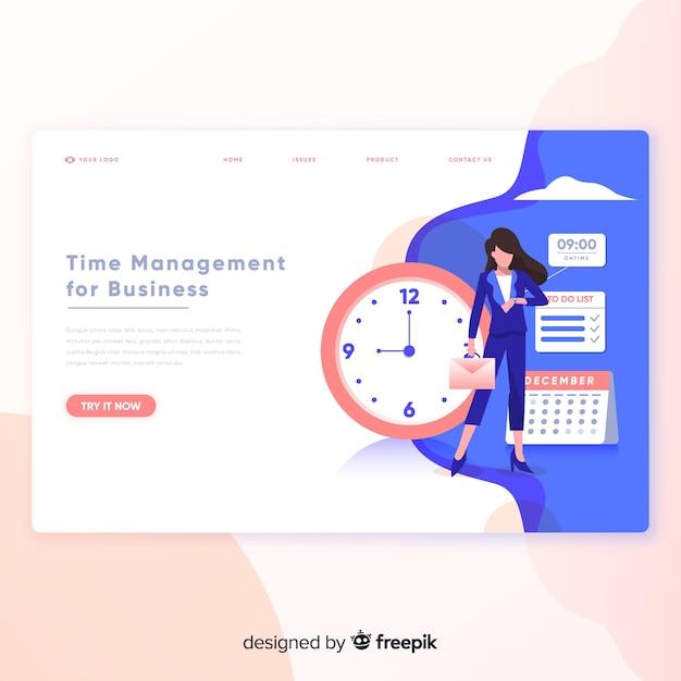Página de destino do gerenciamento de tempo Vetor grátis