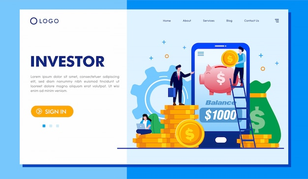 Página de destino do investidor site ilustração vector design Vetor Premium