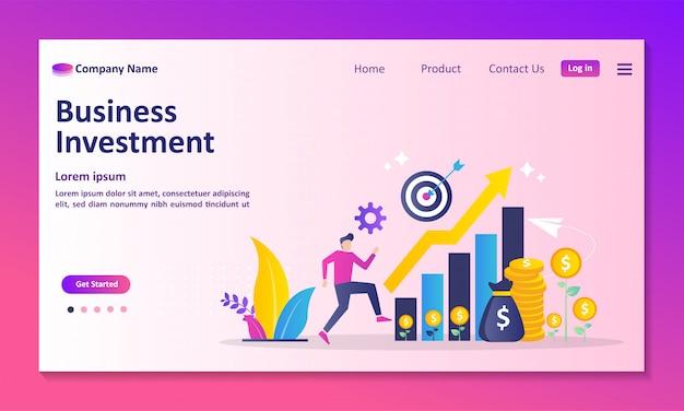 Página de destino do investimento empresarial Vetor Premium