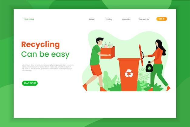 Página de destino do lixo plástico macio reciclado Vetor Premium