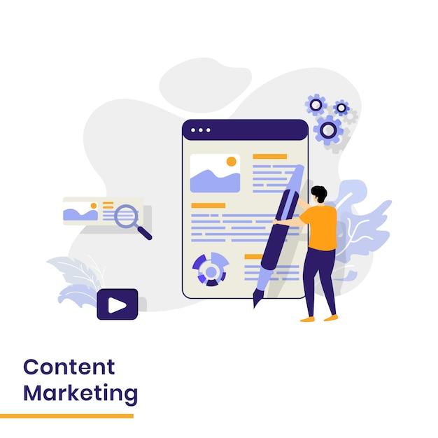 Página de destino do marketing de conteúdo Vetor Premium