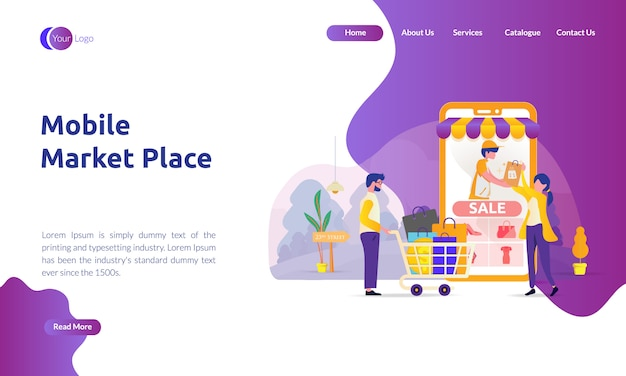 Página de destino do mercado móvel Vetor Premium