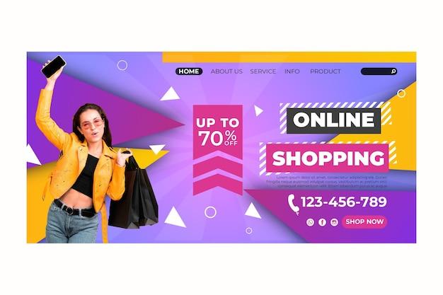 Página de destino do modelo de compras online Vetor grátis