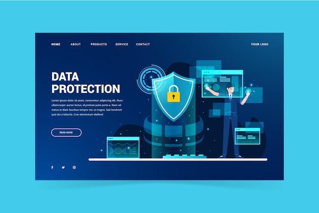 Página de destino do modelo de proteção de dados Vetor grátis
