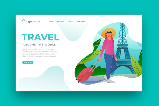 Página de destino do modelo de viagem de design plano Vetor grátis