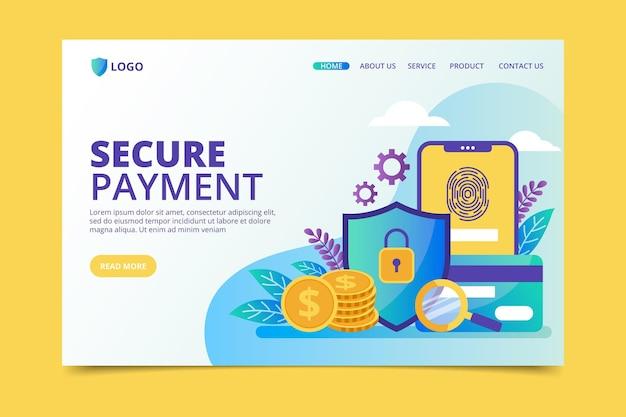 Página de destino do pagamento seguro Vetor grátis