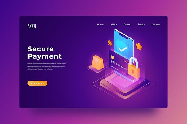 Página de destino do pagamento seguro Vetor Premium