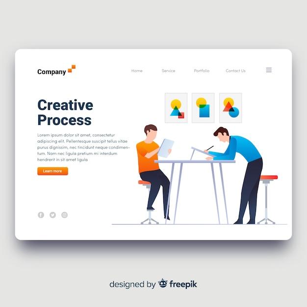 Página de destino do processo criativo Vetor grátis