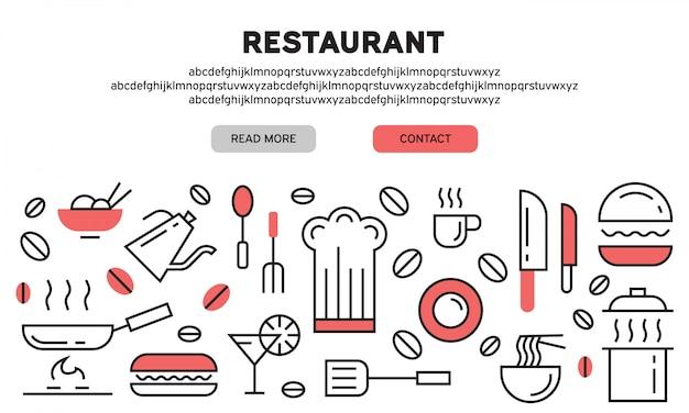 Página de destino do restaurante Vetor Premium