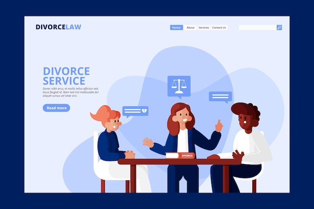 Página de destino do serviço de advogado de divórcio Vetor grátis