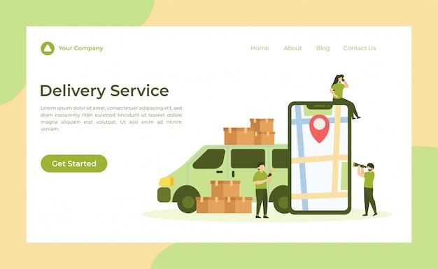 Página de destino do serviço de entrega Vetor Premium