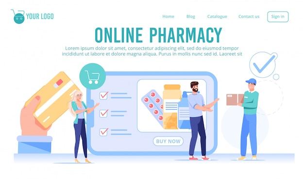 Página de destino do serviço de farmácia de drogaria online Vetor Premium