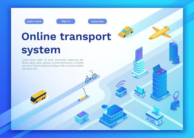 Página de destino do serviço online de transporte móvel Vetor Premium