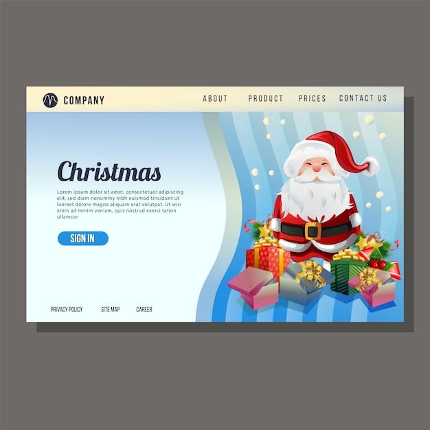 Página de destino do site de natal papai noel fundo azul Vetor Premium