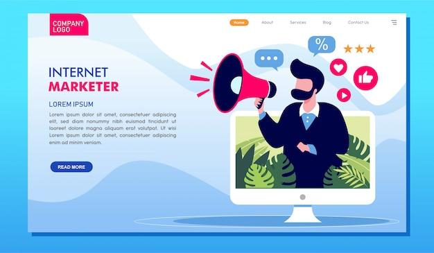 Página de destino do site de publicidade on-line do comerciante da internet Vetor Premium