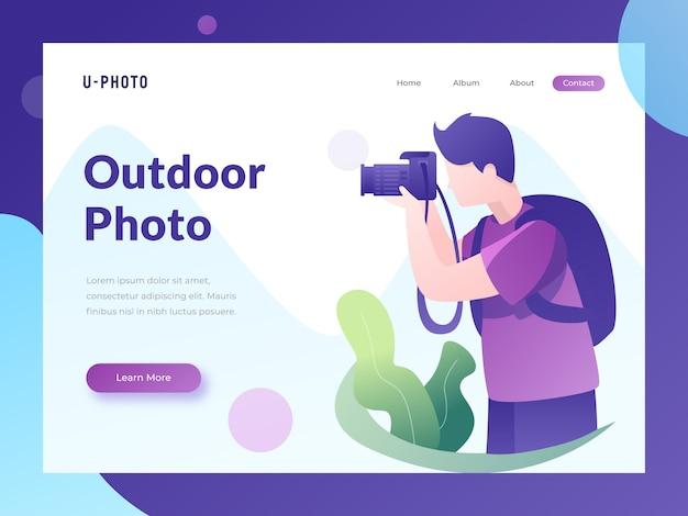 Página de destino do site fotográfico Vetor Premium