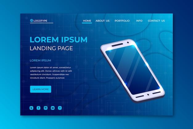 Página de destino do smartphone modelo Vetor grátis