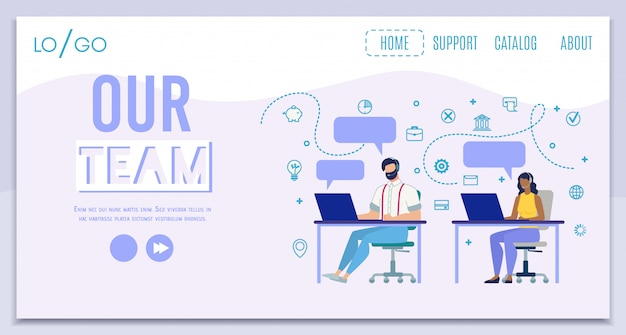 Página de destino do team call center team flat Vetor Premium