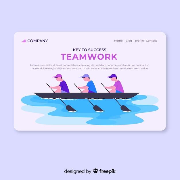 Página de destino do trabalho em equipe Vetor grátis