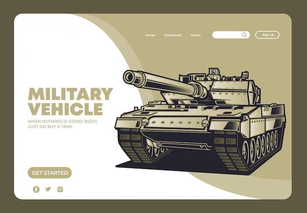 Página de destino do veículo tanque militar Vetor Premium