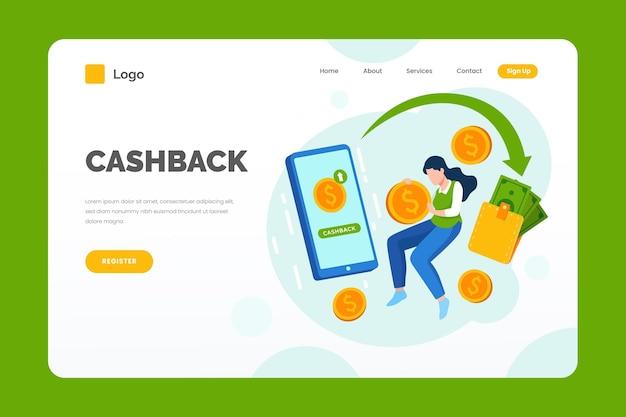 Página de destino e comprador de cashback Vetor grátis