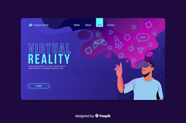 Página de destino futurista de realidade virtual Vetor grátis