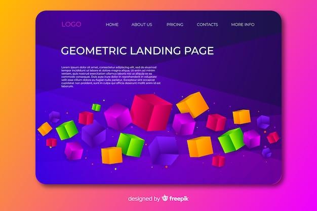 Página de destino geométrica 3d Vetor grátis