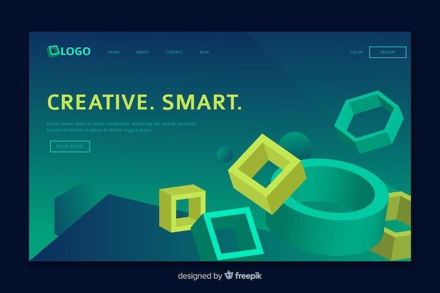 Página de destino geométrica com elementos da web Vetor grátis