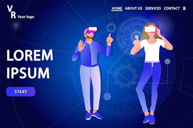 Página de destino. homem mulher, em, virtual, óculos realidade Vetor Premium