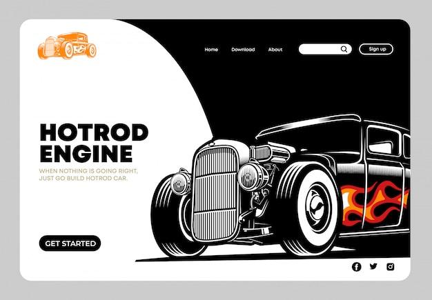 Página de destino hotrod Vetor Premium