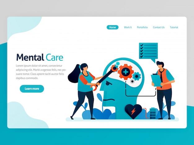 Página de destino ilustração de cuidados mentais. reparar a mente e a psicologia. consciência para doença mental. cuidar da saúde mental, mente, cérebro Vetor Premium
