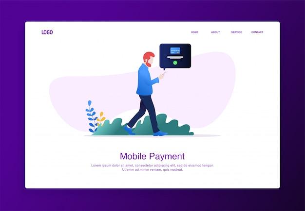 Página de destino ilustração do homem andando enquanto faz pagamentos online móveis com smartphone Vetor Premium