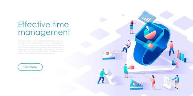 Página de destino isométrica conceito plano de gestão de tempo de negócios Vetor Premium