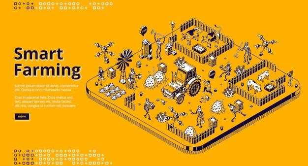 Página de destino isométrica da agricultura inteligente com robôs e pessoas que trabalham na fazenda ou no campo, ciborgues alimentando o gado, colhendo. agricultura de aldeia automatizada, pecuária 3d line art web banner Vetor grátis