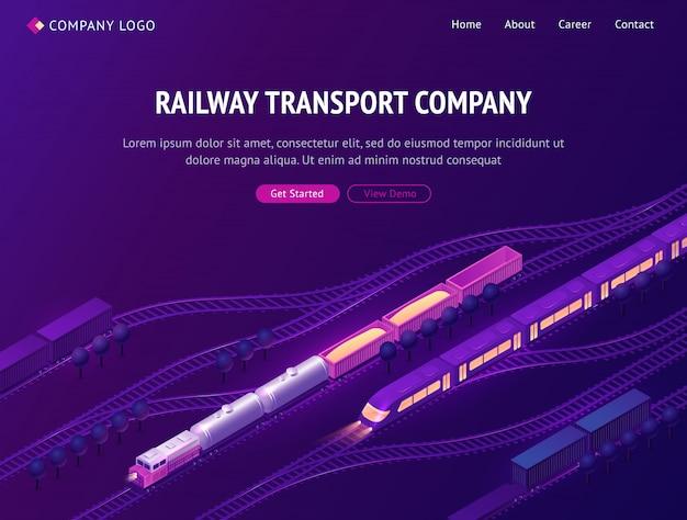Página de destino isométrica da empresa de transporte ferroviário Vetor grátis